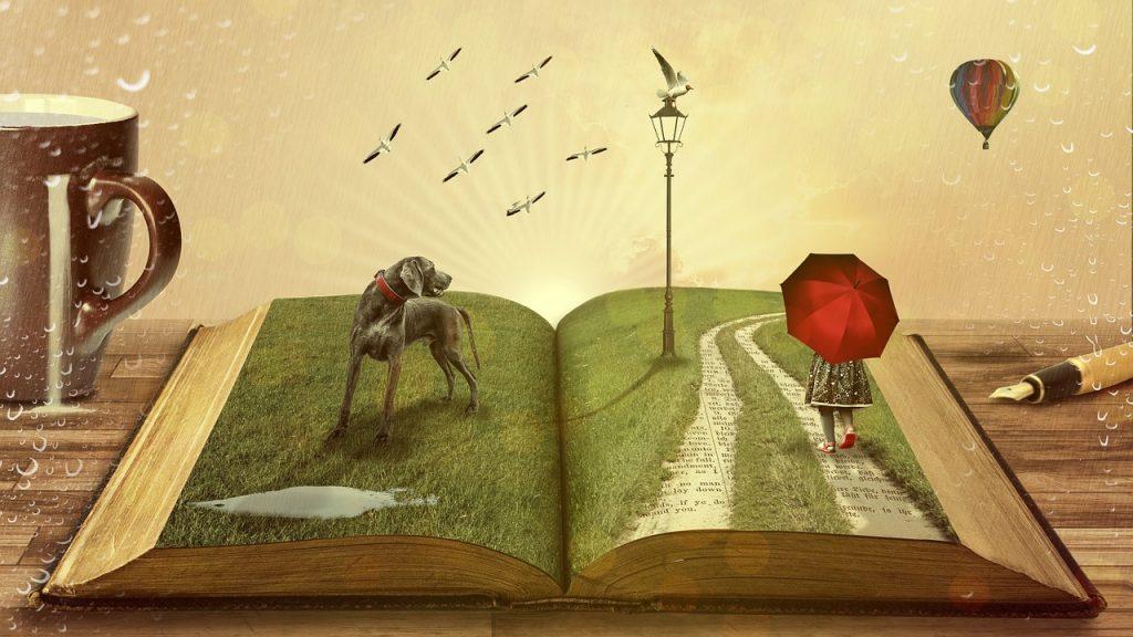book, dog, fairy tales