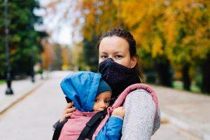 woman, child, face mask